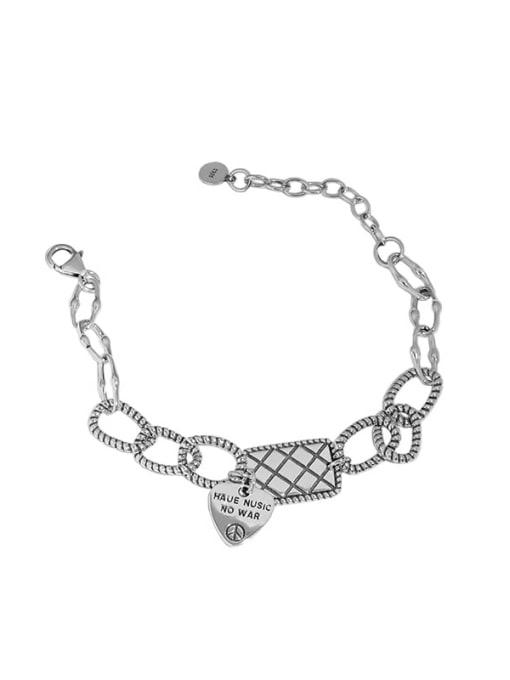 Taiyin 925 Sterling Silver Geometric Vintage Love square brand chain  Link Bracelet