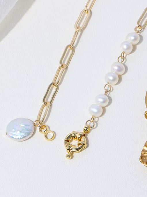 RAIN Brass Freshwater Pearl Geometric Minimalist Necklace 3