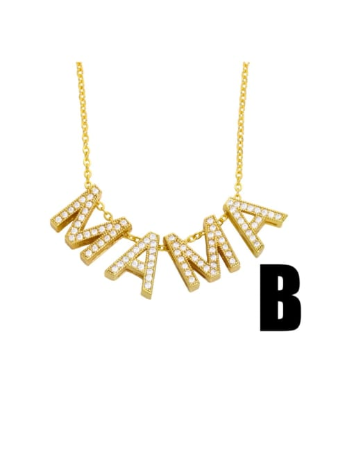 B Brass Cubic Zirconia Minimalist MOM Letter  Pendant Necklace