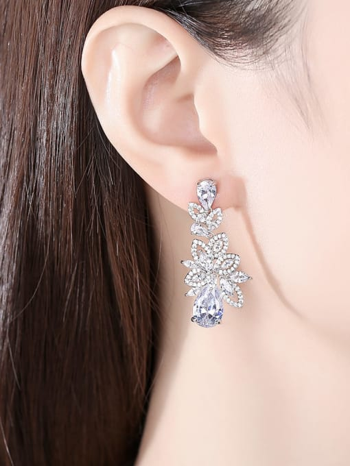 BLING SU Brass Cubic Zirconia Flower Statement Cluster Earring 1