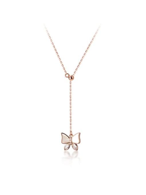 Rosh 925 Sterling Silver Shell Butterfly Minimalist Tassel Lariat Necklace 3