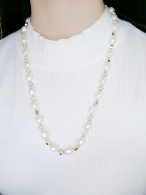 white Brass Freshwater Pearl Geometric Minimalist Long Strand Necklace