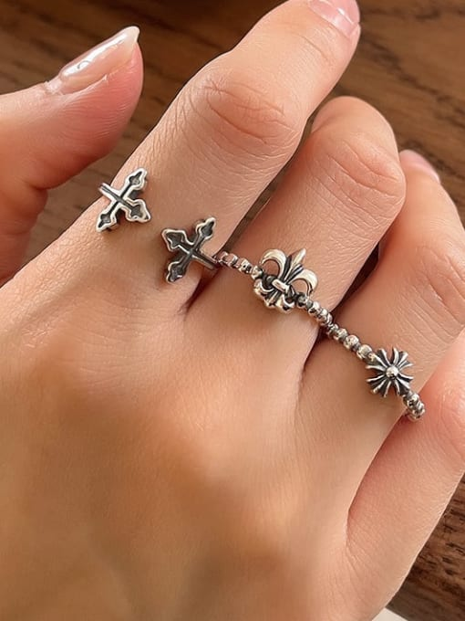 Boomer Cat 925 Sterling Silver Cross Vintage Band Ring 1