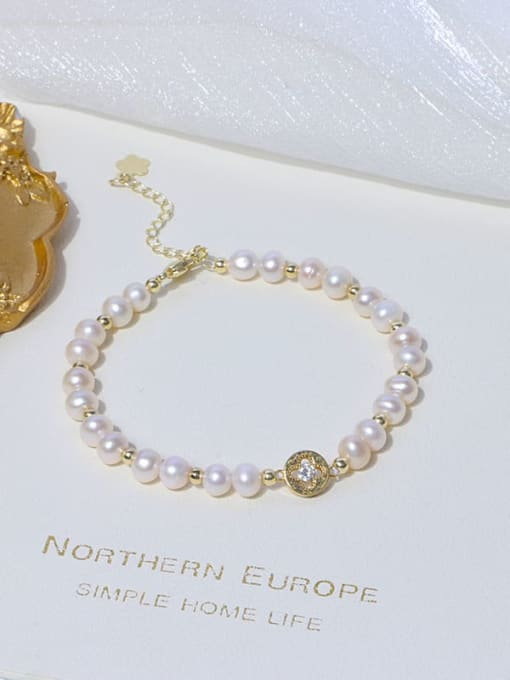 RAIN Brass Freshwater Pearl Round Minimalist Beaded Bracelet 2