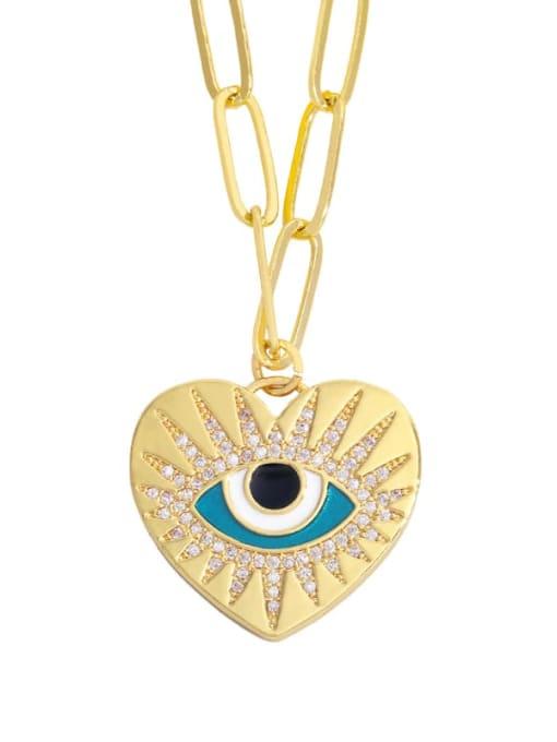 CC Brass Cubic Zirconia Enamel Evil Eye Hip Hop Necklace