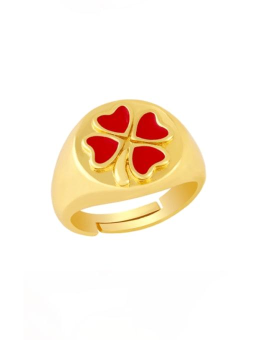 red Brass Enamel Clover Vintage Band Ring