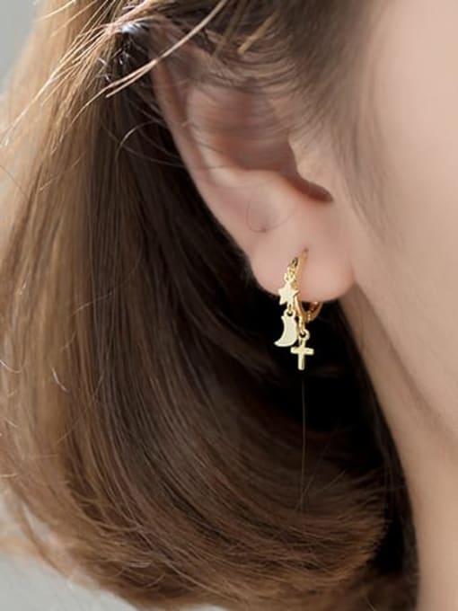 Rosh 925 Sterling Silver Minimalist Simple Pentagram Moon Cross Huggie Earring 1
