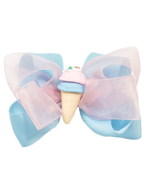 3 blue ice cream Alloy  Fabric Cute Bowknot Multi Color Hair Barrette