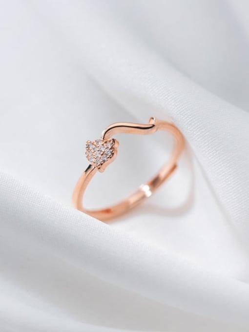 Rosh 925 Sterling Silver Rhinestone Heart Minimalist Band Ring 2