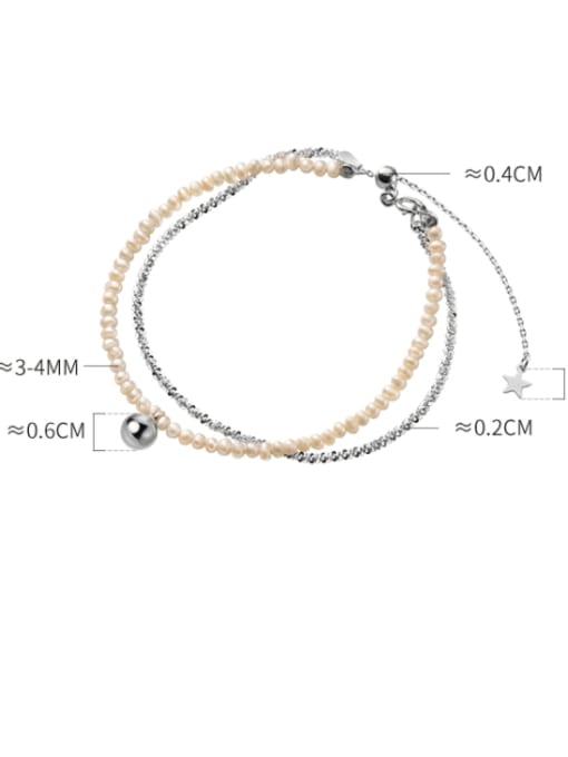Rosh 925 Sterling Silver Imitation Pearl Round Minimalist Strand Bracelet 3