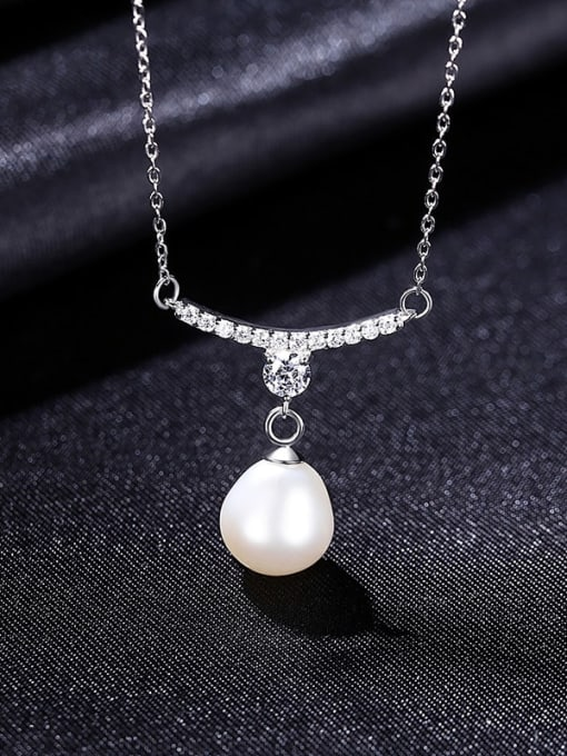 White 8B01 925 Sterling Silver Cubic Zirconia Water Drop Minimalist Necklace