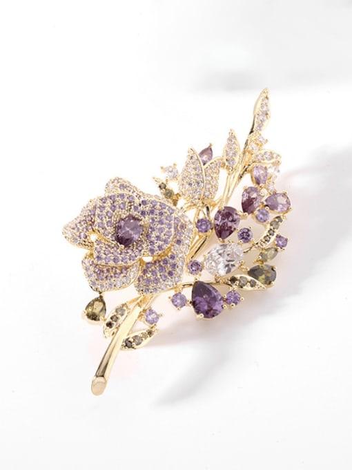 Gold +purple Brass Cubic Zirconia Flower Statement Brooch