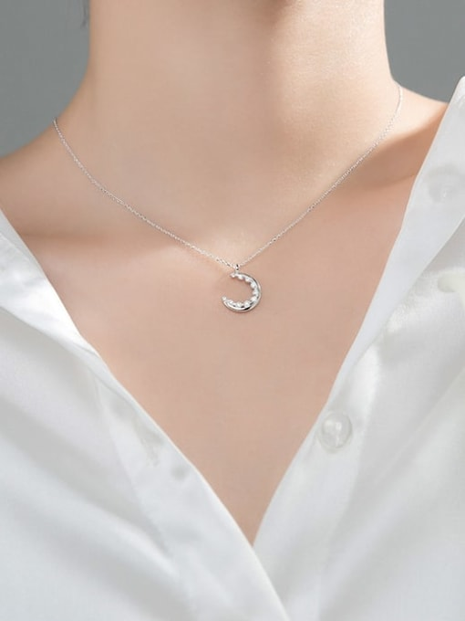 Rosh 925 Sterling Silver Cubic Zirconia Moon Minimalist Necklace 2