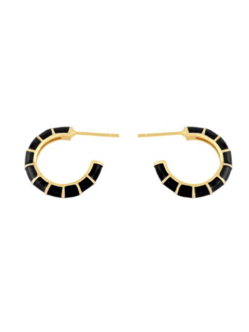 CC Brass Enamel Geometric Minimalist Stud Earring 4