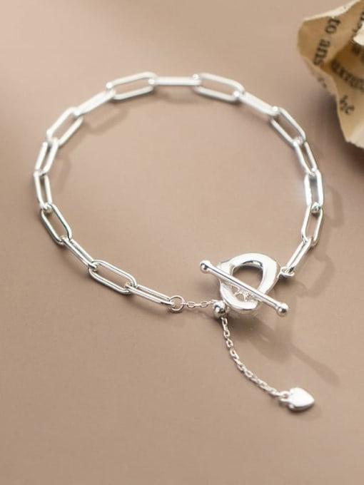Rosh 925 Sterling Silver Hollow  Geometric Chain Minimalist Link Bracelet