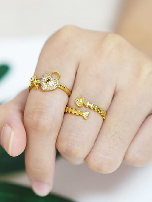 CC Brass Cubic Zirconia Key Minimalist Band Ring 4
