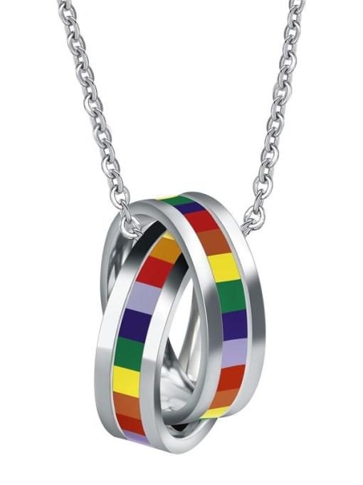 CONG Stainless steel Enamel Geometric Minimalist Necklace