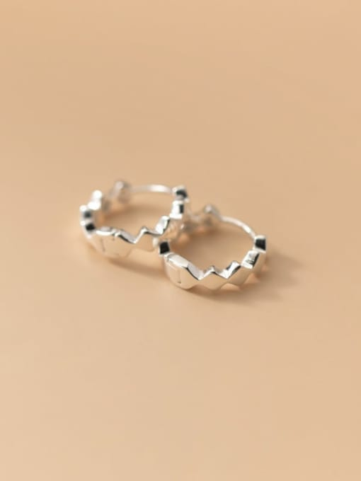 Rosh 925 Sterling Silver Irregular Minimalist Huggie Earring 3