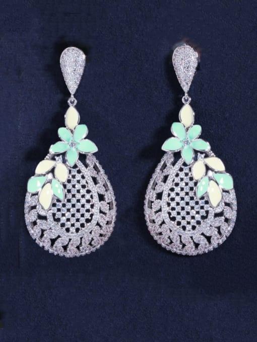 L.WIN Brass Cubic Zirconia Flower Luxury Drop Earring 2