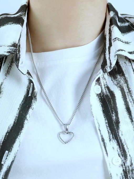 Open Sky Titanium Steel Minimalist  Hollow Heart  Pendant 2