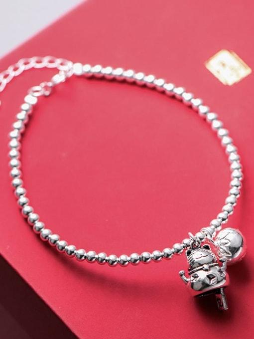 Rosh 925 Sterling Silver Cute retro Beads Bells Little cat Bracelet 2