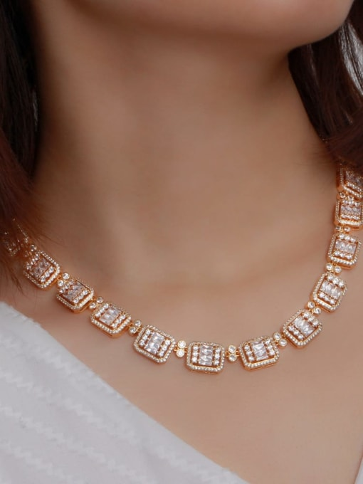L.WIN Brass Cubic Zirconia Luxury Geometric Earring and Necklace Set 2