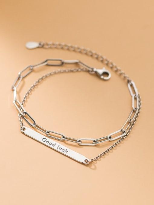 Rosh 925 Sterling Silver Geometric Minimalist Strand Bracelet 0