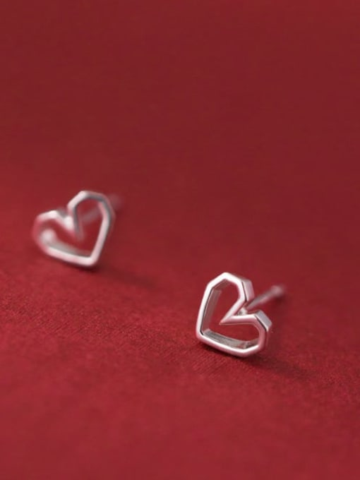 Rosh 925 Sterling Silver Hollow Heart Minimalist Stud Earring 0