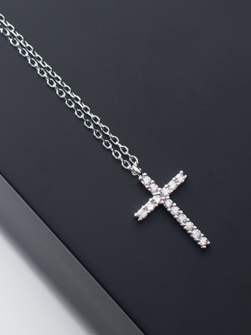 Rosh 925 Sterling Silver Rhinestone Cross Minimalist Necklace 1