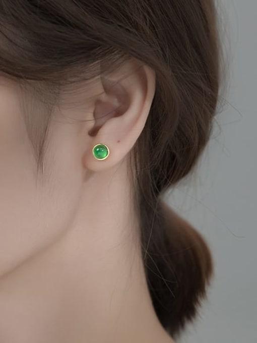Rosh 925 Sterling Silver Cats Eye Geometric Minimalist Stud Earring 1