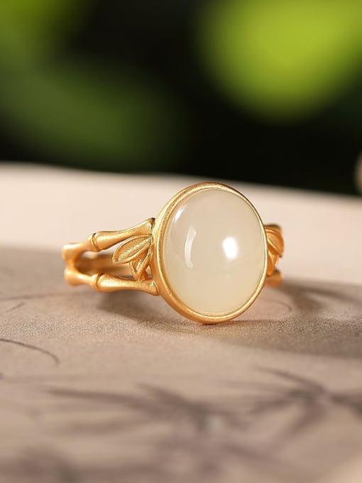 Hotan jade (open) 925 Sterling Silver Jade Geometric Vintage Band Ring