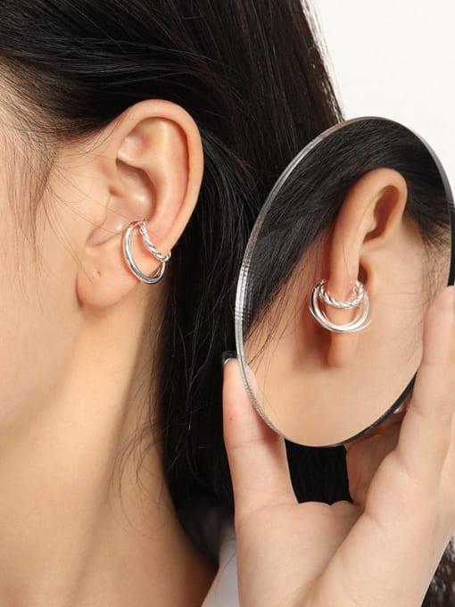 DAKA 925 Sterling Silver Geometric Minimalist C-shaped twist Clip Earring 3