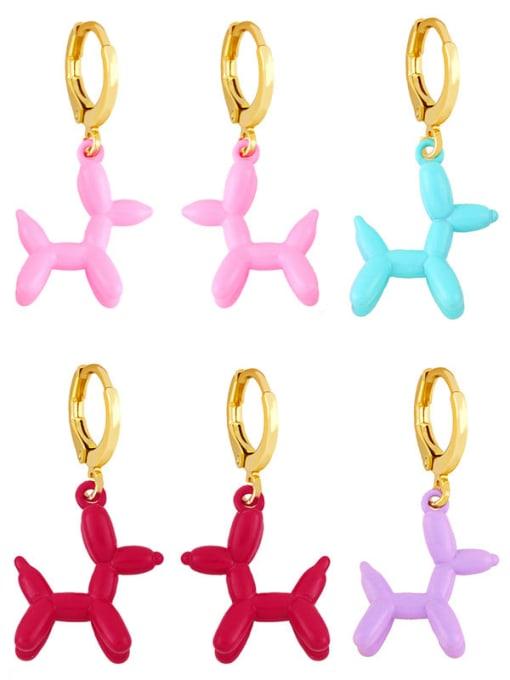 CC Brass Enamel Dog Cute Huggie Earring