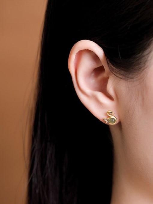 DEER 925 Sterling Silver Jade Swan Vintage Stud Earring 1