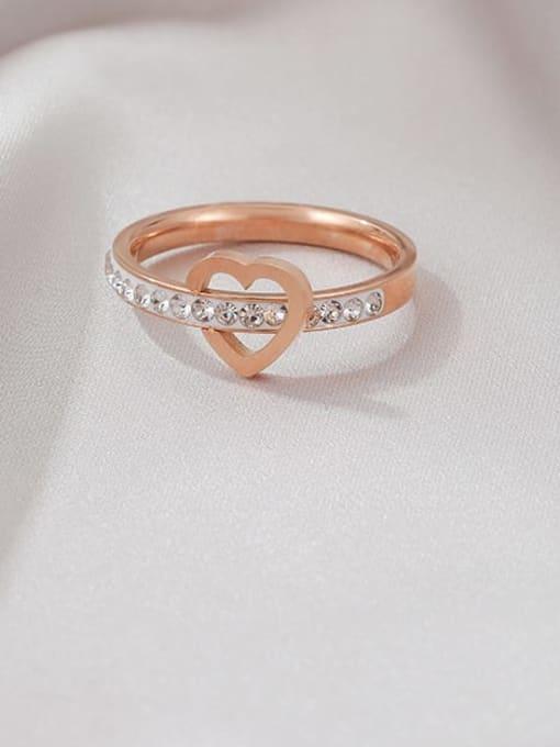 Rose gold ( white diamond) Titanium Steel Rhinestone Heart Minimalist Band Ring