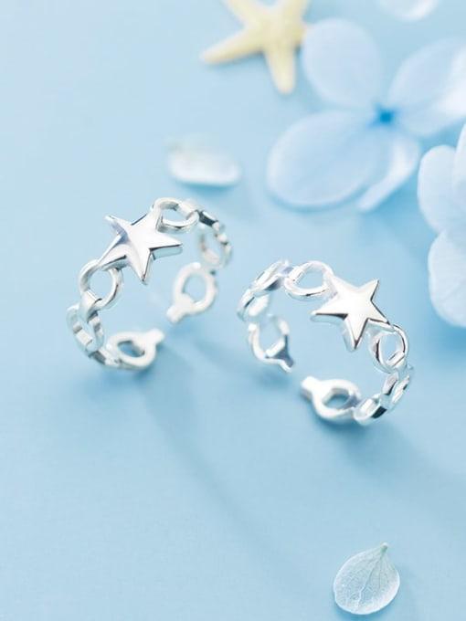 Rosh 925 Sterling Silver  Minimalist Fashion glossy pentagon  free size Ring 1