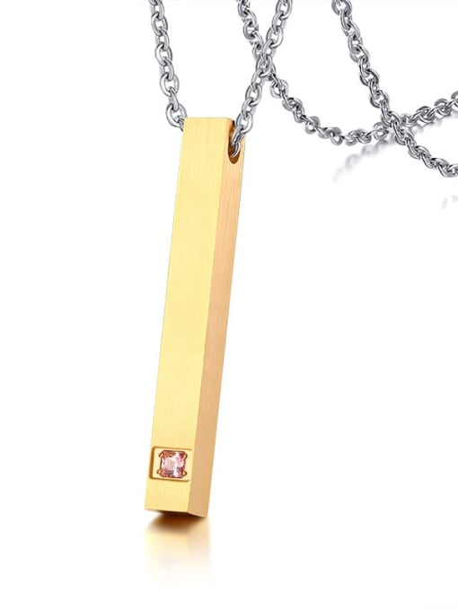 Gold with gold chain 925 Sterling Silver Rhinestone Geometric Minimalist Necklace