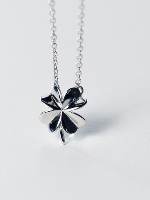 Rosh 925 Sterling Silver Smooth Flower Minimalist Necklace 1