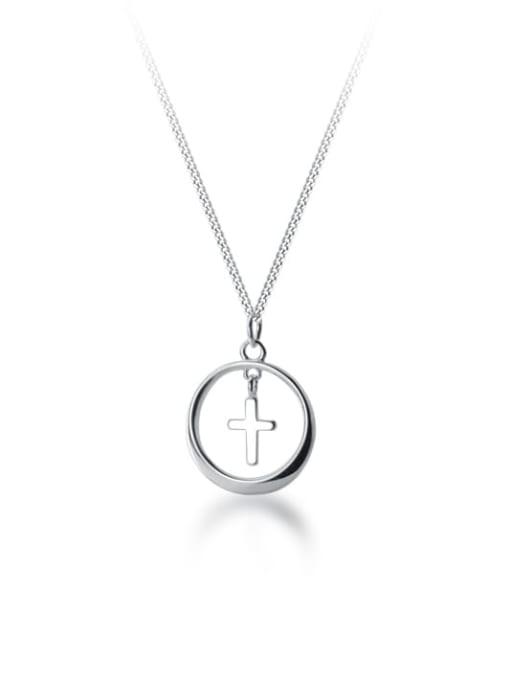 Rosh 925 Sterling Silver Cross Minimalist  pendant Necklace