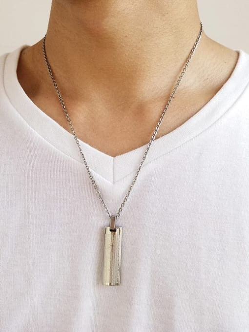 CONG Titanium Steel Geometric  Letter Minimalist Necklace 1
