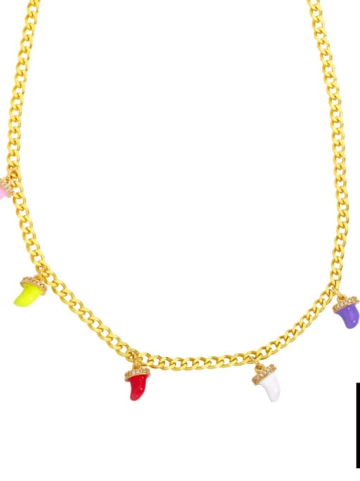 B Brass Enamel Geometric Hip Hop Necklace