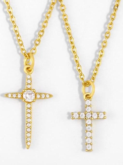 CC Copper Cubic Zirconia Cross Vintage Regligious Necklace 0
