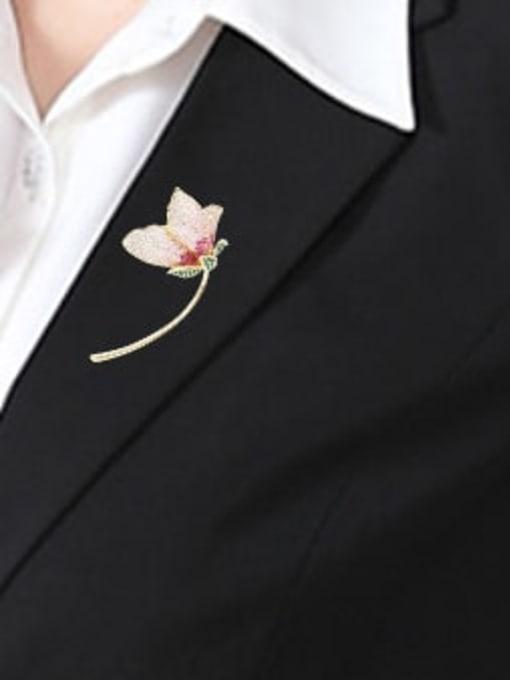Luxu Brass Cubic Zirconia Flower Trend Brooch 2
