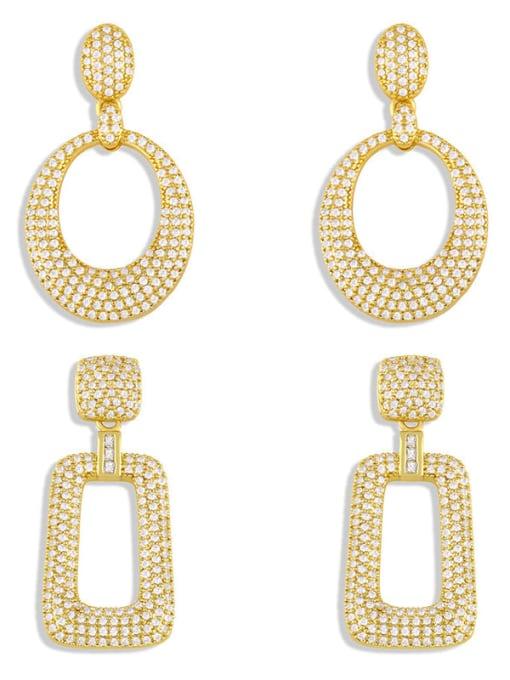 CC Brass Cubic Zirconia Geometric Minimalist Cluster Earring 4
