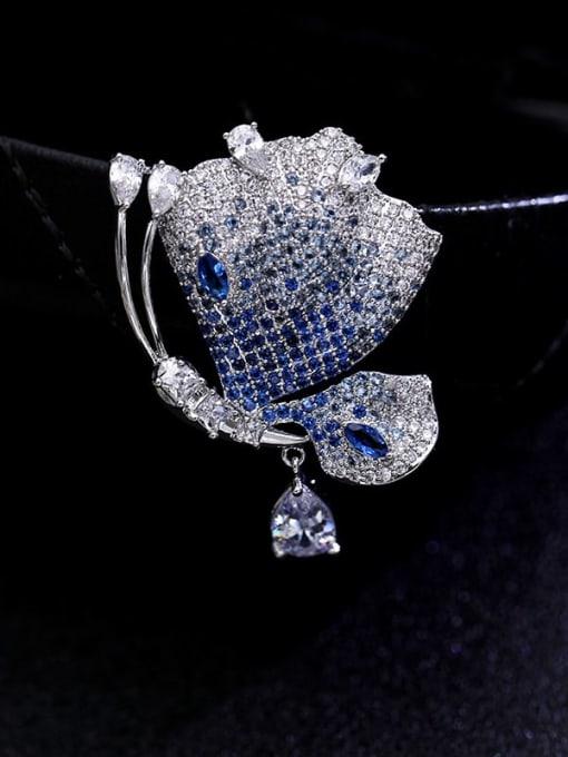 platinum+ blue Brass Cubic Zirconia Butterfly Statement Brooch
