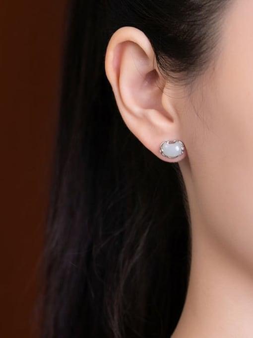 DEER 925 Sterling Silver Jade Cloud Vintage Stud Earring 1