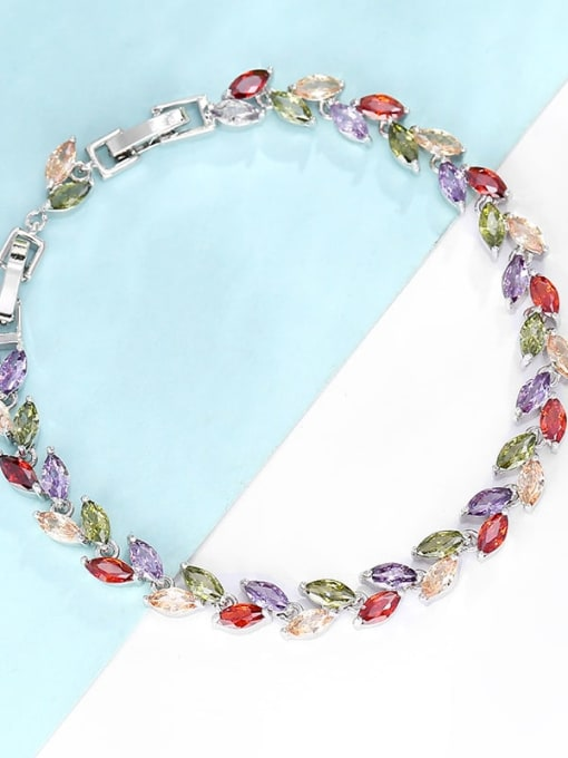 Platinum gold mixed color zircon Brass Cubic Zirconia Multi Color Leaf Dainty Bracelet