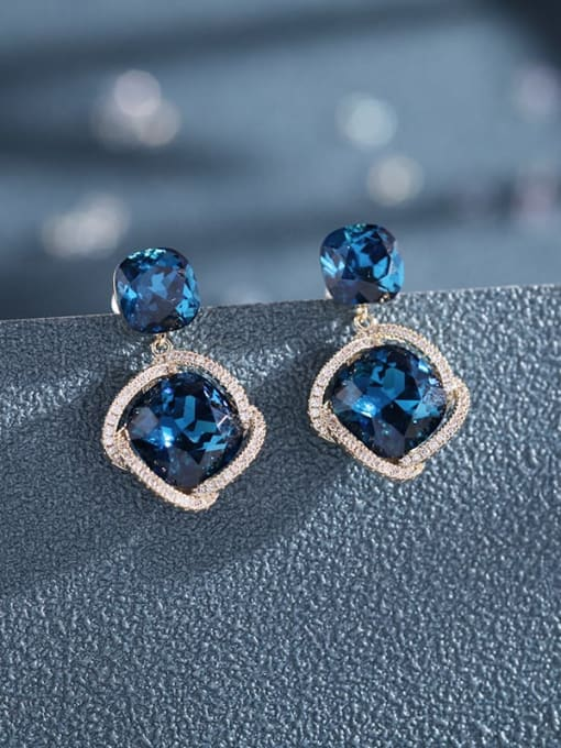 Luxu Brass Cubic Zirconia Geometric Dainty Drop Earring 2