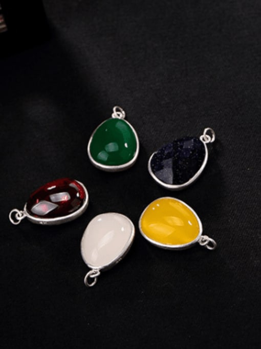 DEER 990 Sterling Silver Jade Vintage Water Drop Pendant 0