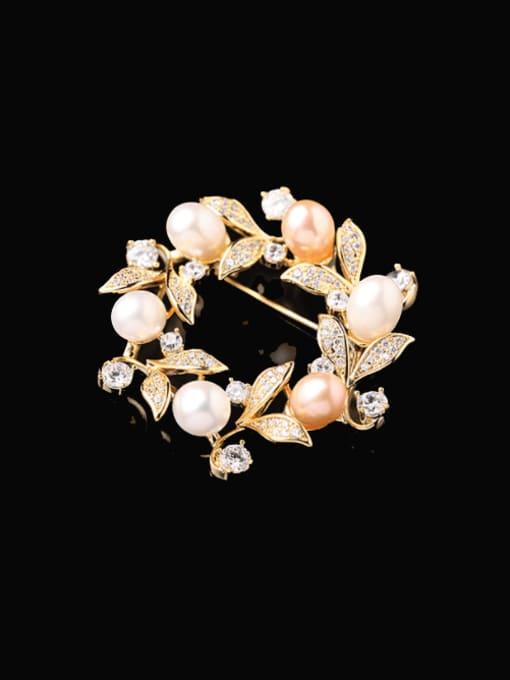 Luxu Brass Cubic Zirconia Friut Minimalist Brooch